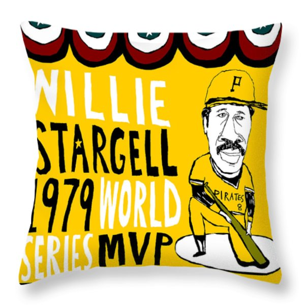 willie stargell pittsburgh pirates Throw Pillow by Jay Perkins