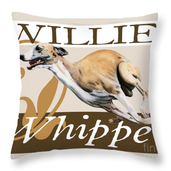 Willie the Whippet Throw Pillow by Liane Weyers