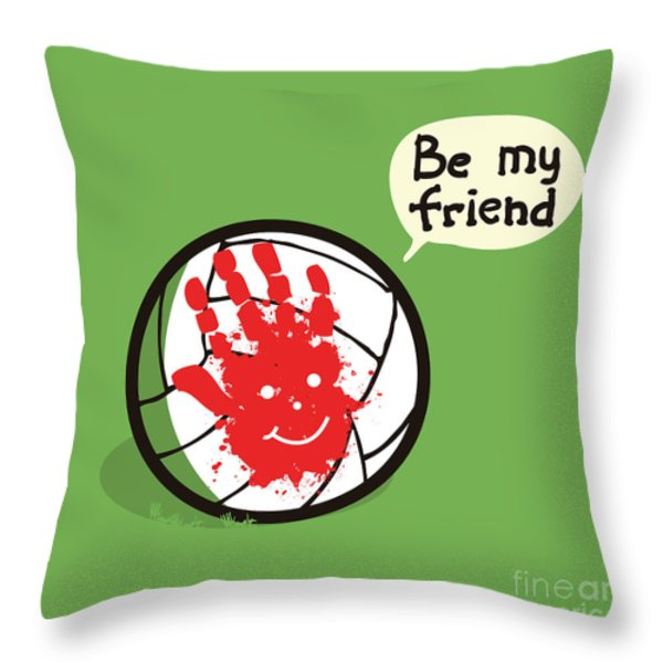 Wilson Best Friend Forever Throw Pillow by Budi Satria Kwan