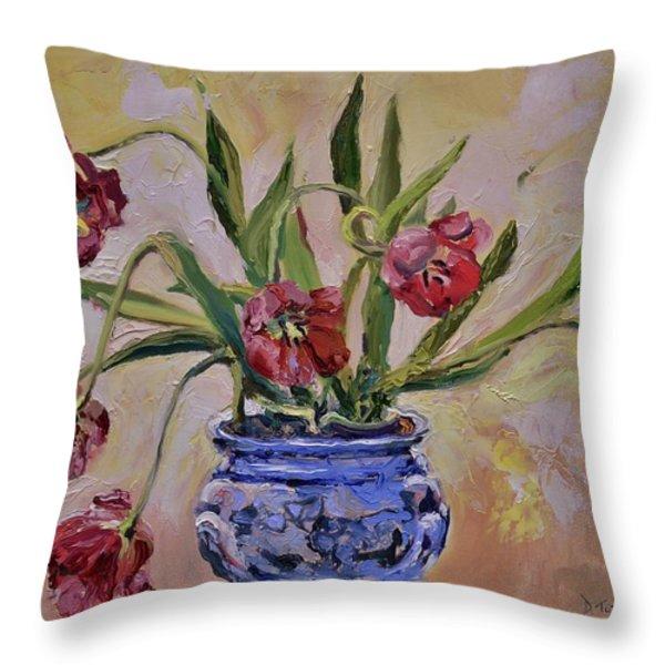 Wilting Tulips Throw Pillow by Donna Tuten
