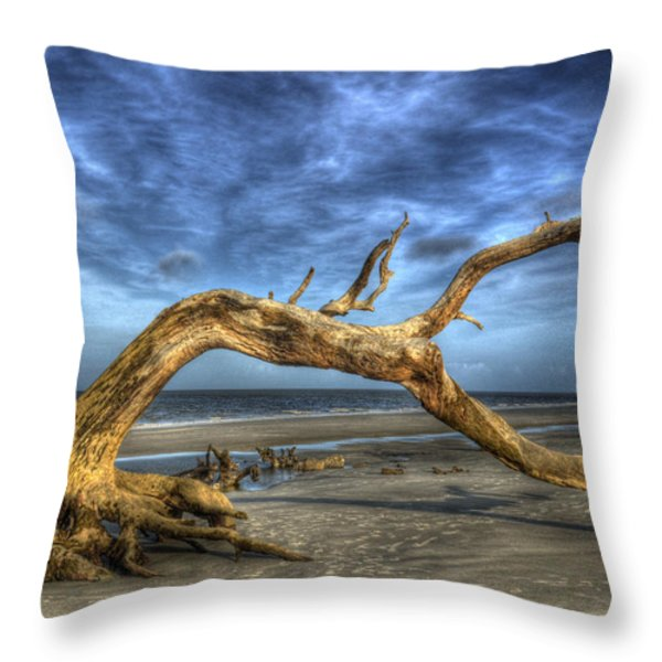 Wind Bent Driftwood Throw Pillow by Greg and Chrystal Mimbs