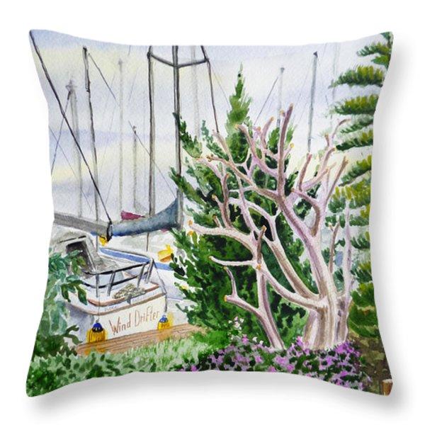 Wind Drifter Boat Oakland Marina California  Throw Pillow by Irina Sztukowski