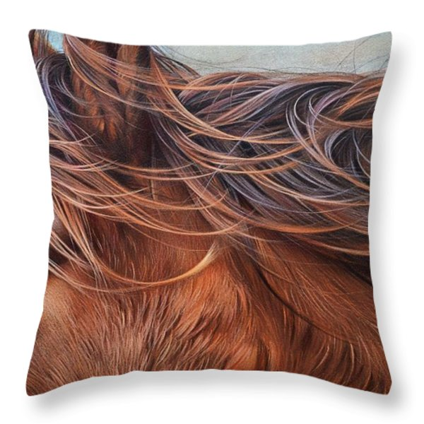 Wind In The Mane Throw Pillow by Elena Kolotusha
