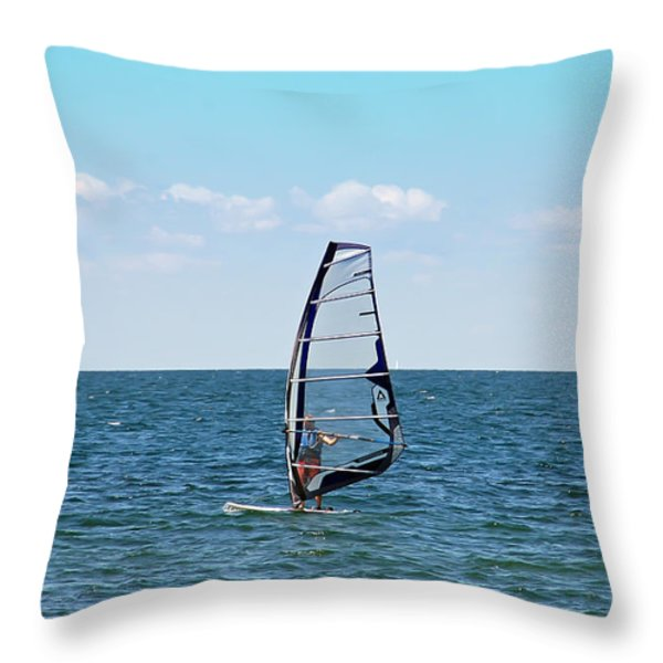 Wind Surfer Throw Pillow by Aimee L Maher Photography and Art