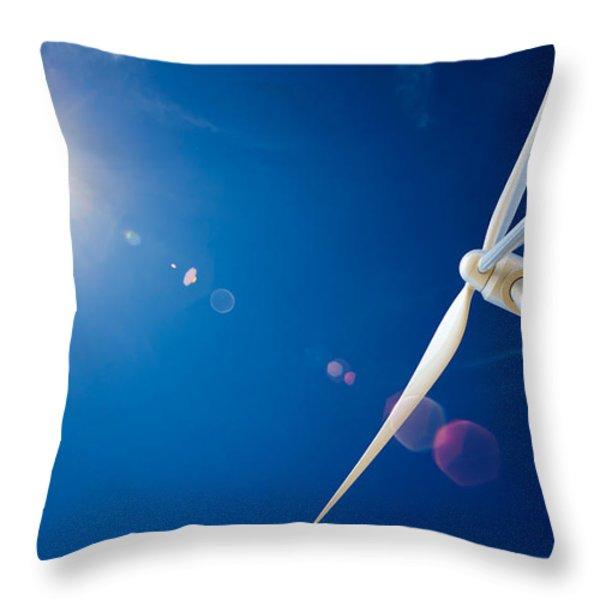 Wind Turbine And Sun Throw Pillow by Johan Swanepoel