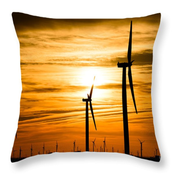 Wind Turbine Farm Picture Indiana Sunrise Throw Pillow by Paul Velgos