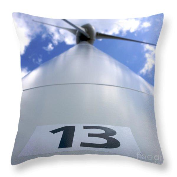 Wind Turbine. No 13 Throw Pillow by Bernard Jaubert