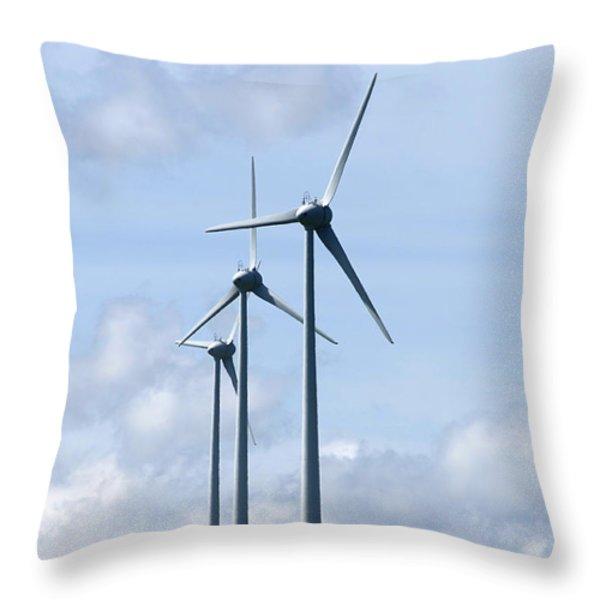 Wind Turbines Throw Pillow by Bernard Jaubert