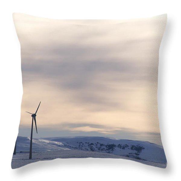 Wind turbines in winter Throw Pillow by BERNARD JAUBERT