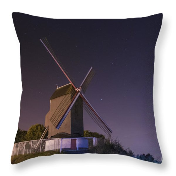 Windmill At Night Throw Pillow by Juli Scalzi