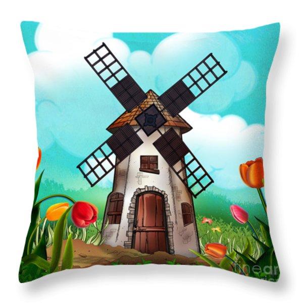 Windmill Path Throw Pillow by Bedros Awak