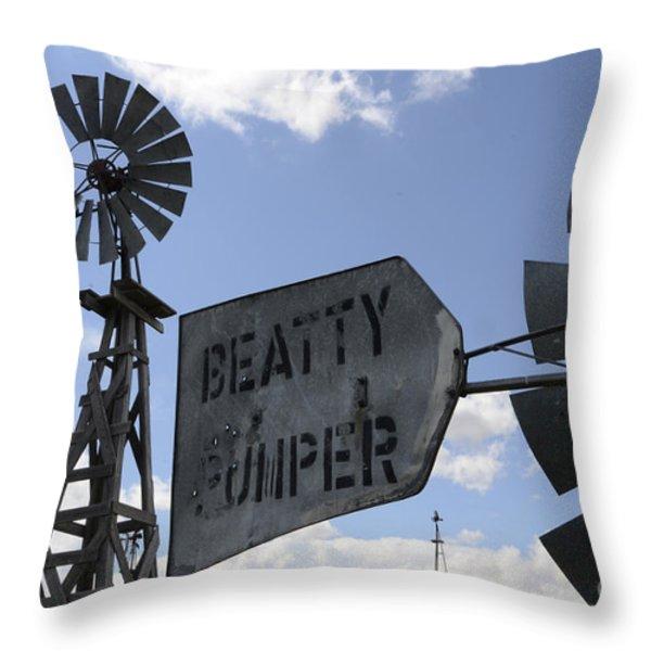 Windmills 1 Throw Pillow by Bob Christopher