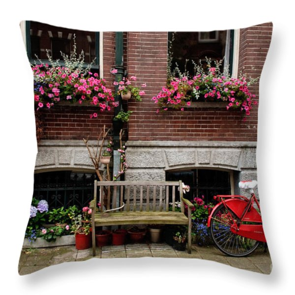 Window Box Bicycle And Bench Throw Pillow by Thomas Marchessault