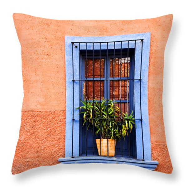 Window In San Miguel De Allende Mexico Square Throw Pillow by Carol Leigh