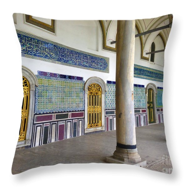 Window Of The Chamber Of The Holy Mantle In The Topkapi Palace Istanbul Turkey Throw Pillow by Ralph A  Ledergerber-Photography