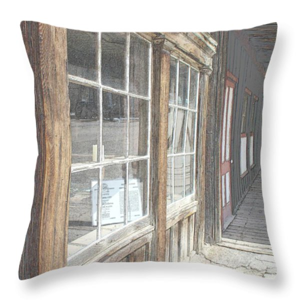 Window Shopping          Colored Pencil Throw Pillow by Mark Eisenbeil