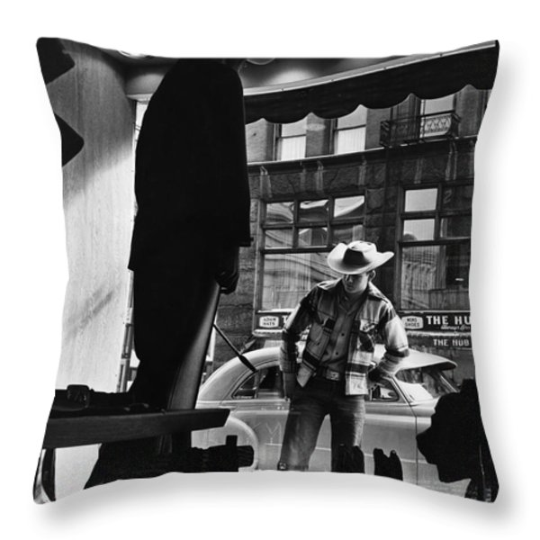 Window Shopping Cowboy Throw Pillow by Photo Researchers