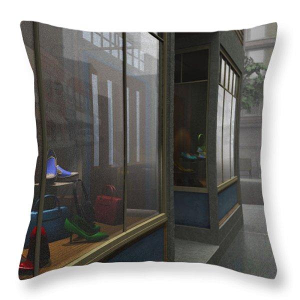 Window Shopping Throw Pillow by Cynthia Decker
