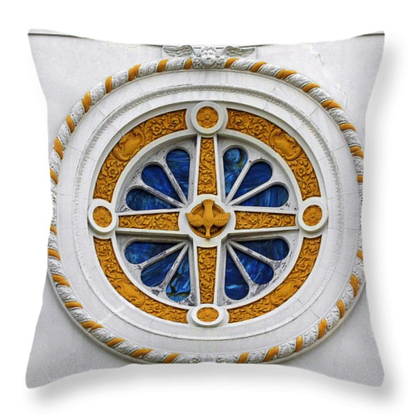 Window St Mary's Church New Orleans Throw Pillow by Christine Till