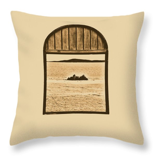 Window View Of Desert Island Puerto Rico Prints Rustic Throw Pillow by Shawn O'Brien