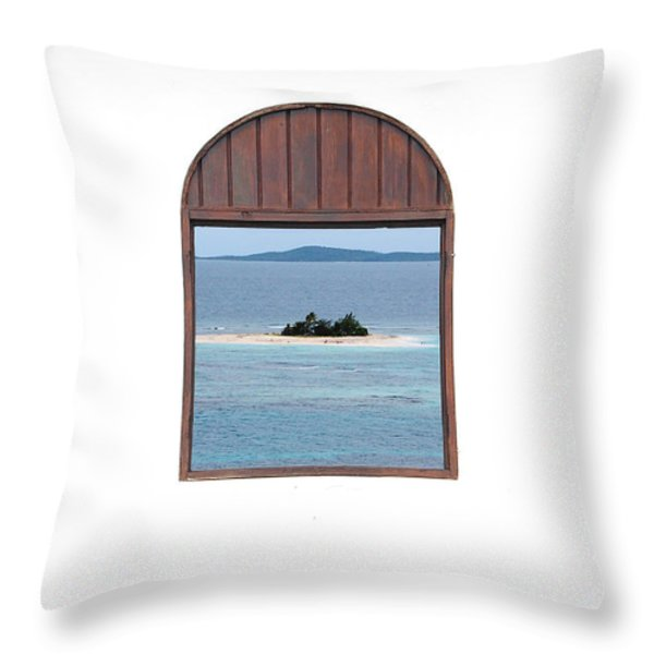 Window View Of Desert Island Puerto Rico Prints Throw Pillow by Shawn O'Brien