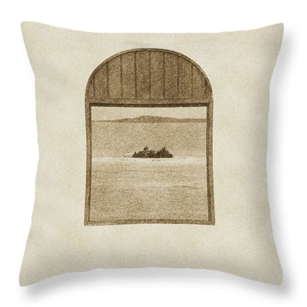 Window View of Desert Island Puerto Rico Prints Vintage Throw Pillow by Shawn O'Brien