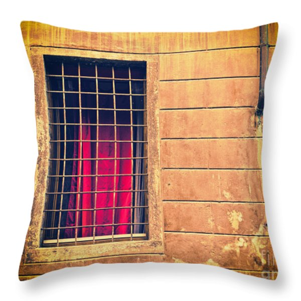 Window with grate and red curtain Throw Pillow by Silvia Ganora