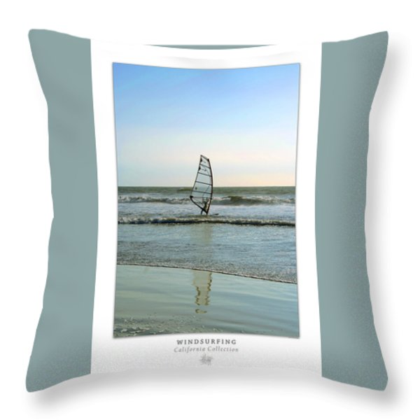 Windsurfing Art Poster - California Collection Throw Pillow by Ben and Raisa Gertsberg