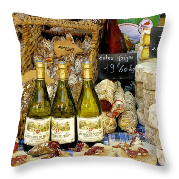 Wine and Cheese Throw Pillow by Douglas J Fisher