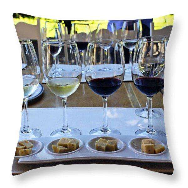 Wine and Cheese Tasting Throw Pillow by Kurt Van Wagner