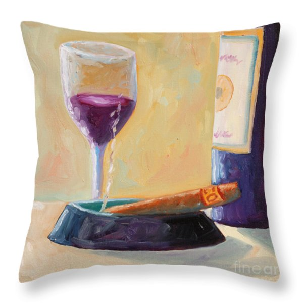 Wine and Cigar Throw Pillow by Todd Bandy