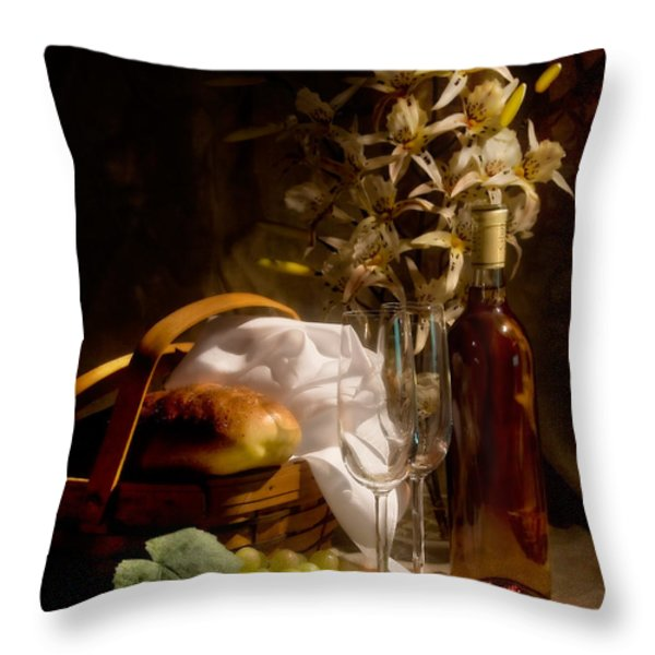 Wine and Romance Throw Pillow by Tom Mc Nemar