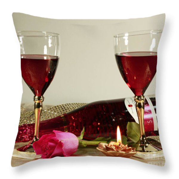 Wine and Rose by Candlelight Throw Pillow by Inspired Nature Photography By Shelley Myke