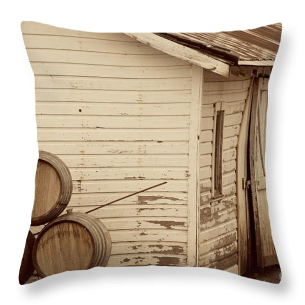 Wine Barrels and Rustic White Barn Throw Pillow by Juli Scalzi
