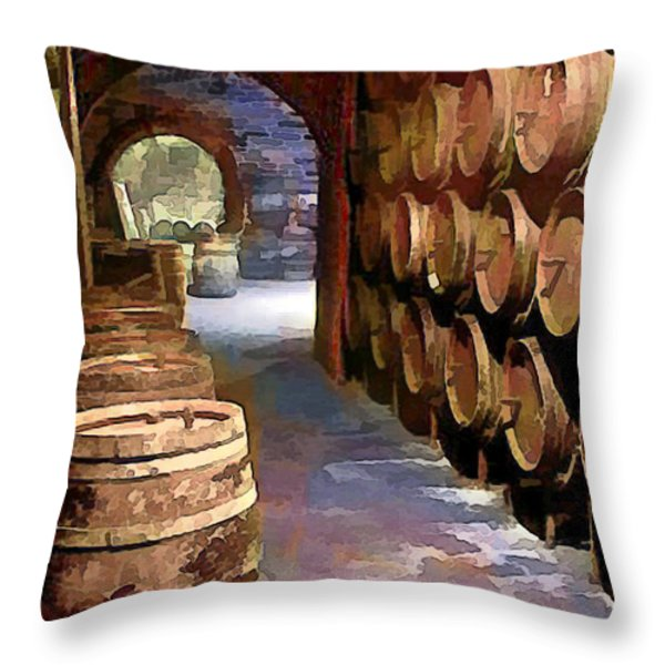 Wine Barrels in the Wine Cellar Throw Pillow by Elaine Plesser