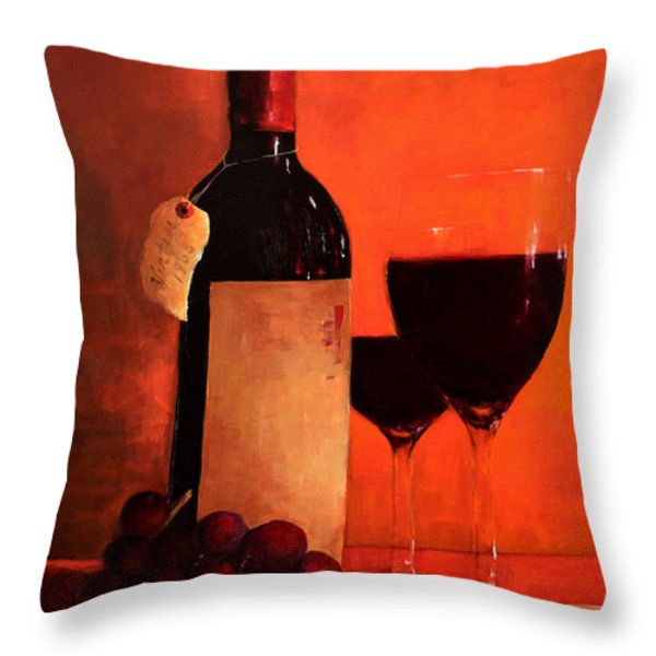 Wine Bottle  Throw Pillow by Patricia Awapara