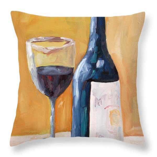 Wine Bottle Still Life Throw Pillow by Todd Bandy