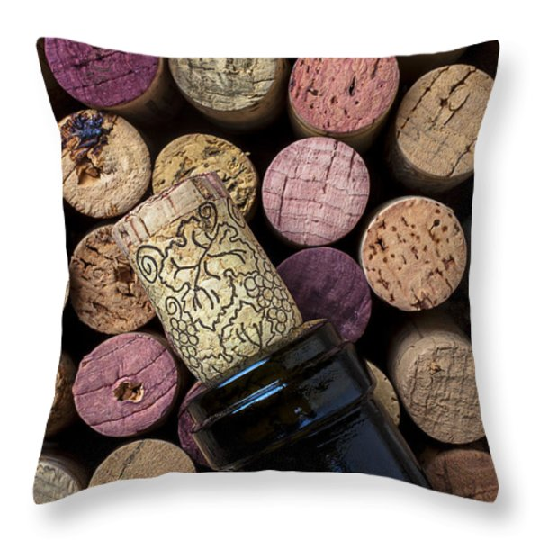 Wine bottle with corks Throw Pillow by Garry Gay