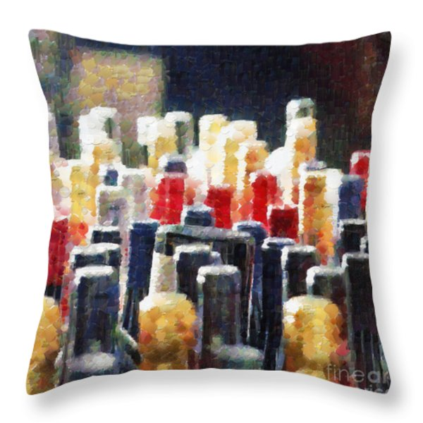 Wine bottles painting Throw Pillow by Magomed Magomedagaev
