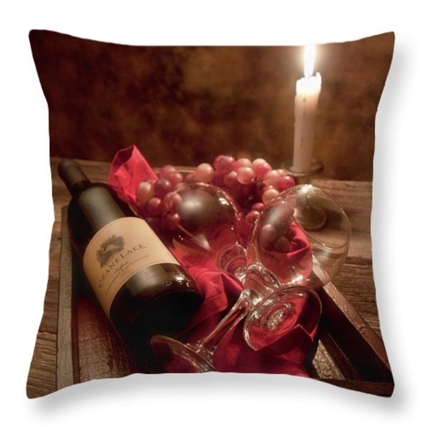 Wine By Candle Light I Throw Pillow by Tom Mc Nemar