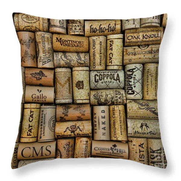 Wine Corks after the Wine Tasting Throw Pillow by Paul Ward