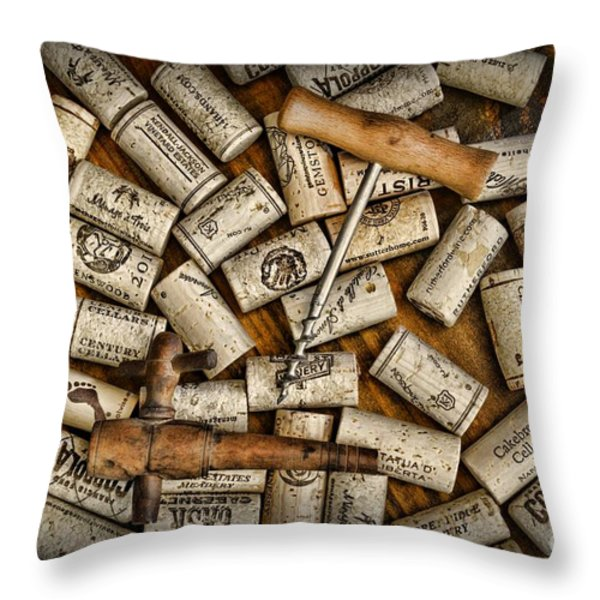 Wine Corks on a Wooden Barrel Throw Pillow by Paul Ward