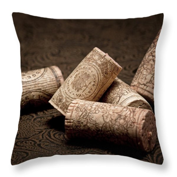 Wine Corks Still Life III Throw Pillow by Tom Mc Nemar