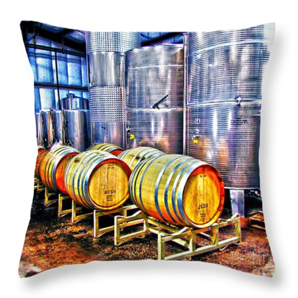 Wine Fermentation Throw Pillow by Annie Zeno