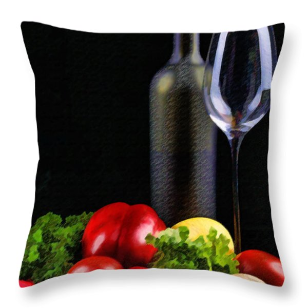 Wine for a Salad Throw Pillow by Elaine Plesser