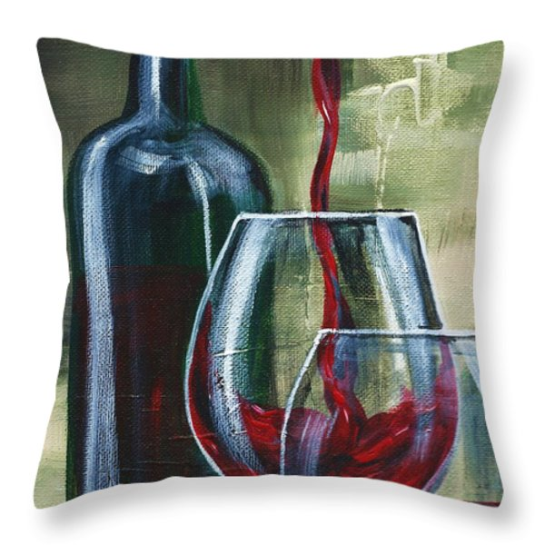 Wine For Two Throw Pillow by Lisa Owen-Lynch