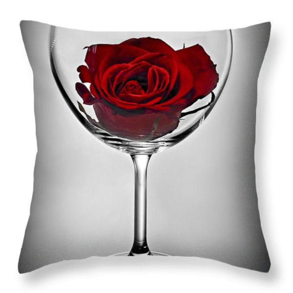 Wine glass with rose Throw Pillow by Elena Elisseeva