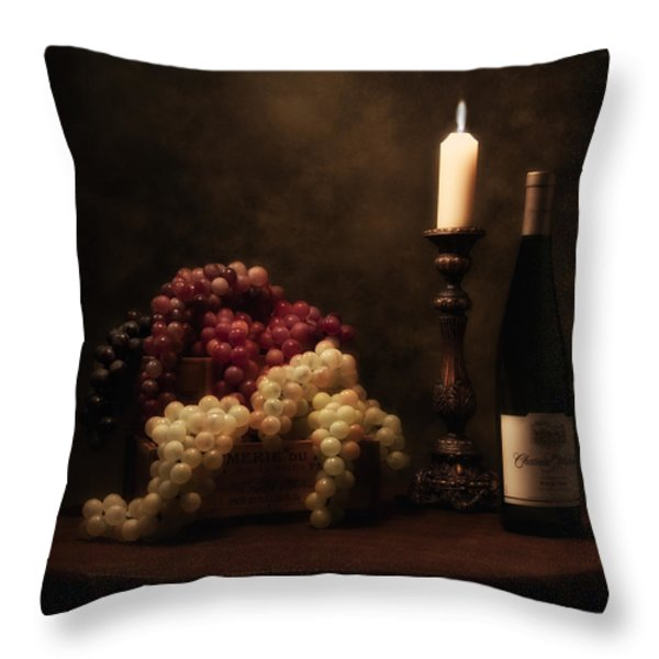 Wine Harvest Still Life Throw Pillow by Tom Mc Nemar