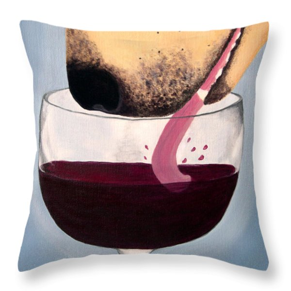 Wine Is Best Shared With Friends - Yellow Dog Throw Pillow by Amy Reges