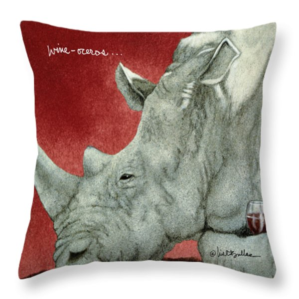 Wine-oceros... Throw Pillow by Will Bullas